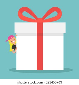 Blond girl peeping from behind a giant gift box / Copy space. Editable flat vector illustration, clip art