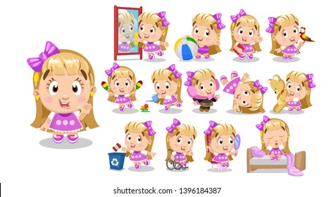 Blond girl in pink dress. Kid in different poses and situations: combs, plays, dances, waters, walks. Full length front and three quater view. Ready to use cartoon vector set isolated on white.