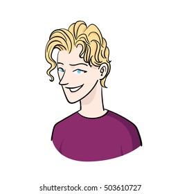 Blond Guy character smiling vector illustration