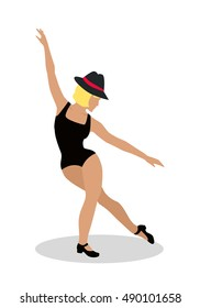 Blond jazz dancer in hat and sexy black suit. Tap Dance, Jitterbug, Swing dance, Lindy Hop, Modern jazz dance. Person entertain public on the fashion show at musical party. Fashion event. Vector