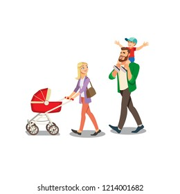 Blond Mother Walking with Baby Carriage while Father Riding Happy Son on His Shoulders Cartoon Vector Isolated on White Background. Millennial Parents Spending Time with Childrens, Family Strolling