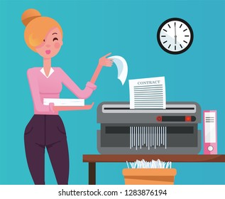 Blond Woman employee shredding the pile of paper documents in small table shedder. The shredded paper enters the recycle bin. Flat cartoon vector illustration