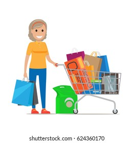 Blond woman smiles and stands with bags and shopping cart full of purchases on white background. Cartoon woman has fun during shopping at supermarket. Shopping-themed isolated vector illustration.