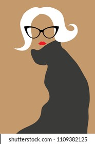 Blond woman wearing cat eye glasses and sweater.