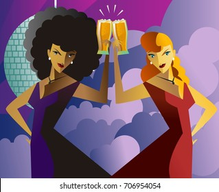 blonde and african woman toasting in disco