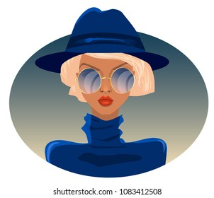 blonde in blue sweater and hat, beautiful woman, fashionable hairstyle, avatar, cartoon character, elegant lady, stock vector, girl in glasses, detective, secret agent