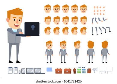 Blonde businessman in grey suit creation kit. Creat your own pose, action, animation. Diverse poses, gestures, emotions, design elements. Flat style vector illustration