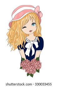 Blonde cute girl with flowers vector design.Cartoon character.