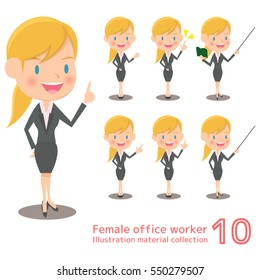 Blonde female office work illustration material collection