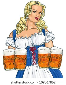 The blonde girl with beer in a traditional dress.