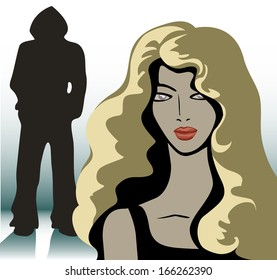 blonde girl and a silhouette of an unknown man