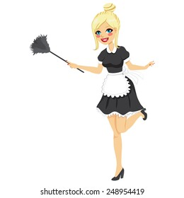 Blonde girl with vintage maid dress cleaning using feather duster