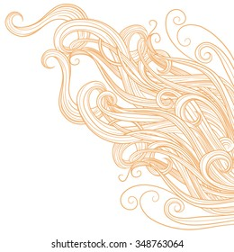 Blonde hair on a white background . Long line. Diagonally. One color . Hand drawing . Vector.