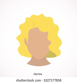 Blonde hair of woman. Curly hair, trendy haircut icon. Isolated on white background.