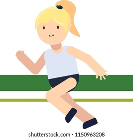 Blonde kid run marathon. Vector flat illustration of sport school girl with tail.