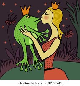 Blonde princess kissing the frog at night