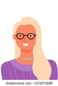 Blonde woman portrait view, vector cartoon character in glasses and purple sweater. Business lady, userpic of online consultant or helper, female avatar