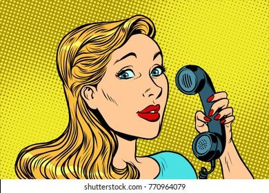 Blonde woman talking on retro phone. Pop art vector illustration