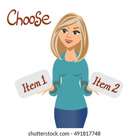 A blonde young woman who is holding two items and choose which one to take them. Vector cartoon flat illustration