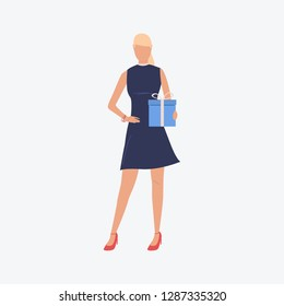 Blondie girl holding blue gift box. Dress, high heels, present. Can be used for topics like Saint Valentines Day, festival, celebration