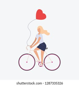 Blondie girl on bicycle. Romantic, vehicle, air balloon. Can be used for topics like spring, romantic, festival