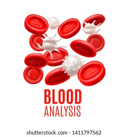 Blood Analysis Concept. Blood Cells Template in Realistic Style for Medical Banners Ads Fliers Posters Web Sites. Vector Illustration
