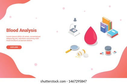 blood analysis concept with team doctor and nurse with magnifying glass with modern isometric style for website template or landing homepage - vector
