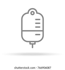 Blood Bag, Blood Donation Icon In Trendy Thin Line Style Isolated On White Background. Medical Symbol For Your Design, Apps, Logo, UI. Vector Illustration, Eps10.