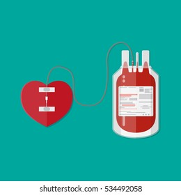 blood bag and heart. Blood donation day concept. Human donates blood. Vector illustration in flat style.