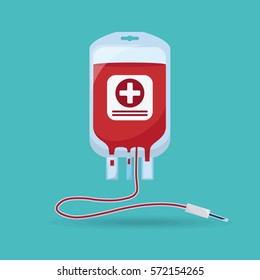 Blood bag isolated on background. Blood donation concept. Vector illustration. Flat cartoon style.