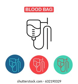 Blood Bag. IV bag icon. Illustration of catheter. Medicine and Health symbol for info graphics, websites and print media. Contour simple clinic icon.