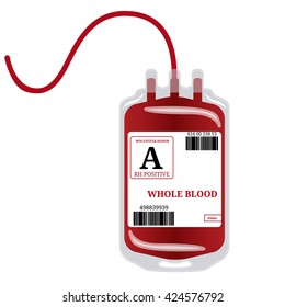 Blood bag with label and text whole blood isolated on white background