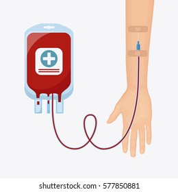 Blood bag, pack with donor hands isolated on white background. Blood donation, transfusion. Medical concept. Vector illustration. Flat cartoon style