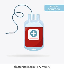 Blood bag, pack isolated on white background. Blood donation, transfusion. Medical concept. Vector illustration. Flat cartoon style