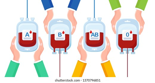 Blood bag with red drop in hands isolated on white background. Donation, transfusion in medicine laboratory concept. Save patient life. Vector flat design