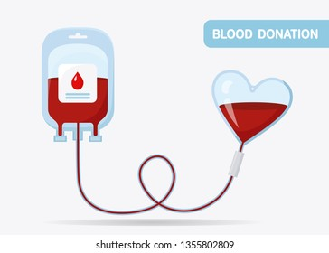 Blood bag with red drop isolated on whit background. Donation, transfusion in medicine laboratory concept. Pack of plasma with heart. Save patient life. Vector flat design