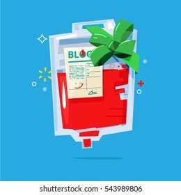 blood bag with ribbon as a gift for other people. bloods donation concept - vector illustration