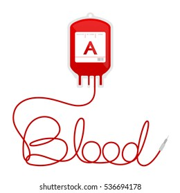 Blood bag type A red color and blood text made from cord illustration isolated on white background, with copy space