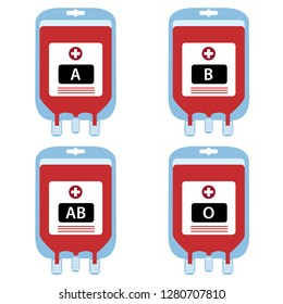 Blood bags are donated by blood groups. Blood group A, B, AB and blood group O