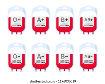 Blood bags with blood types vector illustration. Blood group vector icons isolated on white background.