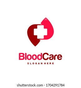 Blood Care logo designs Concept vector, Blood and Plus logo Healthcare symbol icon vector