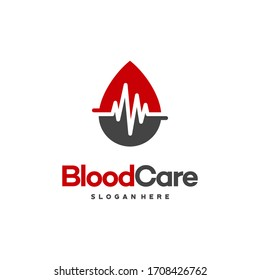 Blood Care Logo designs, Blood with Pulse symbol icon vector