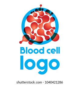 Blood cell logo. Molecular structure logo on the white background