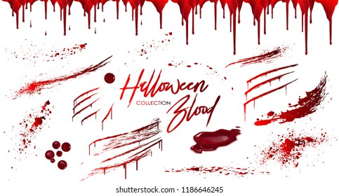 Blood collection, Happy Halloween decoration, Vector bloody horror drop, drip, splatter, creepy splash, spot, ... Realistic blood on transparent background, isolated.