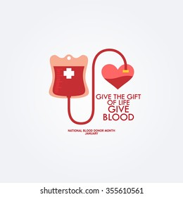 A blood donation bag with tube attached to heart. EPS10 vector format