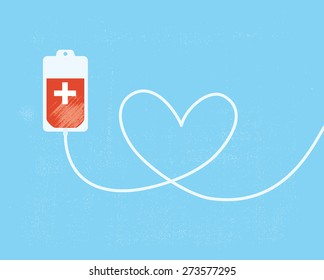 A blood donation bag with tube shaped as a heart. EPS10 vector format