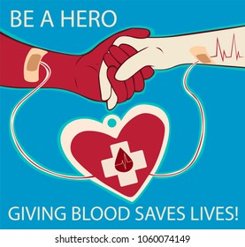 Blood donation. Be a hero. Donor day. Vector illustration.
