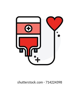 Blood donation concept Isolated Line Vector Illustration editable Icon