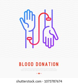 Blood donation concept: transfusion from one hand to other thin line icon. Modern vector illustration for World donor day. Symbol of volunteer, support, charity organization.