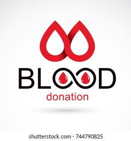 Blood donation concept vector graphic illustration isolated on white. Hematology theme emblem. The 14 June, world blood donor day.